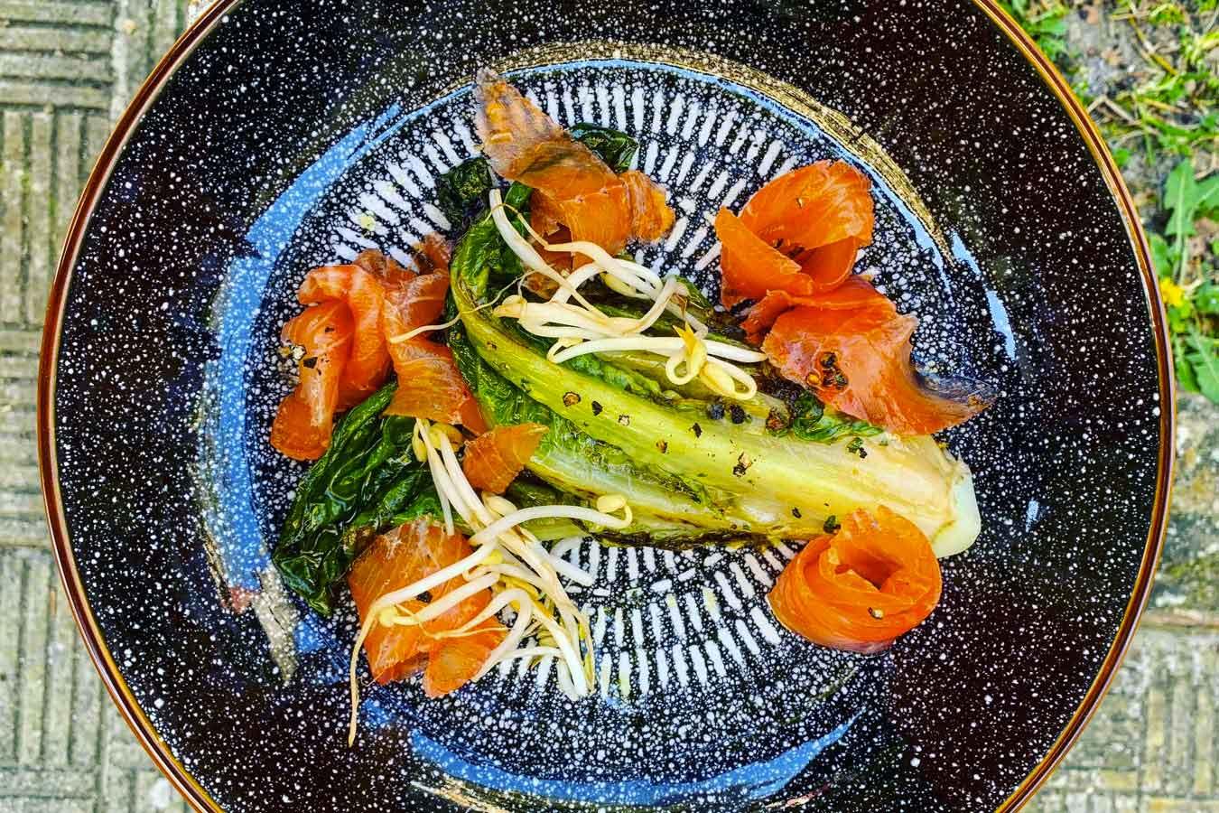Lattuga Romana brasata e salmone marinato